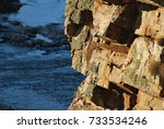 rocks of a mountain with a... | Shutterstock . vector #733534246