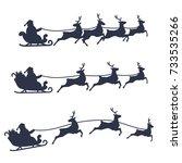 santa claus sleigh and reindeer ... | Shutterstock .eps vector #733535266