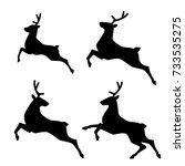 running deer set. vector... | Shutterstock .eps vector #733535275
