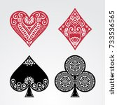 poker cards full set four color ... | Shutterstock .eps vector #733536565