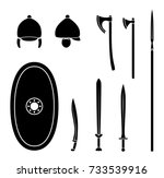 set of ancient celtic weapon... | Shutterstock .eps vector #733539916