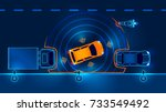 autonomous car leaves the... | Shutterstock .eps vector #733549492