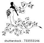 a bride wedding silhouette... | Shutterstock .eps vector #733553146
