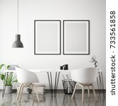 mock up poster frames in... | Shutterstock . vector #733561858