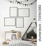 mock up poster frames in... | Shutterstock . vector #733561882