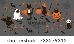 halloween black cats. trick or... | Shutterstock .eps vector #733579312