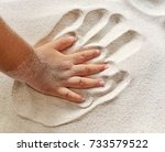 give me five  a small hand on... | Shutterstock . vector #733579522