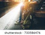 side view traveler  young man... | Shutterstock . vector #733586476