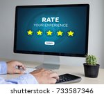 online reviews evaluation time... | Shutterstock . vector #733587346