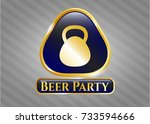 gold badge or emblem with... | Shutterstock .eps vector #733594666