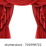 opened red stage curtain... | Shutterstock .eps vector #733598722
