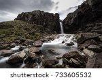 folaldafoss waterfall and... | Shutterstock . vector #733605532