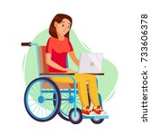 disabled woman working vector.... | Shutterstock .eps vector #733606378