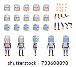 medieval knight in armor... | Shutterstock .eps vector #733608898
