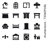 16 vector icon set   table lamp ... | Shutterstock .eps vector #733609186
