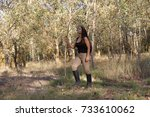 girl walking in the forest with ... | Shutterstock . vector #733610062