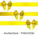 three satin lemon yellow color... | Shutterstock . vector #733613236