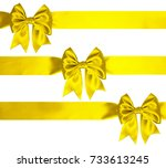 three silk lemon yellow color... | Shutterstock . vector #733613245