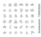 icon thin line set support...   Shutterstock .eps vector #733623262
