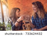 two girls sitting in a cafe ... | Shutterstock . vector #733624432