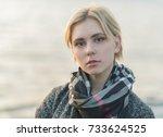 outdoors portrait of beautiful... | Shutterstock . vector #733624525