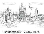 panorama of prague. view of... | Shutterstock .eps vector #733627876