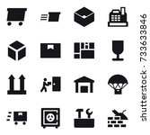 16 vector icon set   delivery ... | Shutterstock .eps vector #733633846