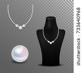 realistic pearl   necklace and... | Shutterstock .eps vector #733640968