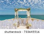 Small photo of Beautiful scenery for a wedding arches in colors. On cape Senhora da Rocha.