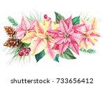 watercolor new year's bouquet ... | Shutterstock . vector #733656412