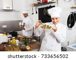 positive female cook wearing... | Shutterstock . vector #733656502