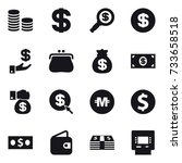16 vector icon set   coin stack ... | Shutterstock .eps vector #733658518