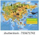 asian flora and fauna map... | Shutterstock .eps vector #733671742