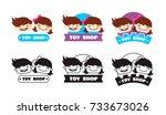vector cartoon toy store logo.... | Shutterstock .eps vector #733673026