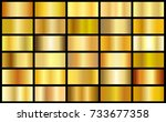 set of gold realistic metal... | Shutterstock .eps vector #733677358
