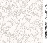 peony seamless pattern. floral... | Shutterstock . vector #733684276