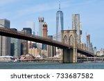brooklyn bridge is a hybrid... | Shutterstock . vector #733687582