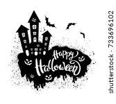 happy halloween template for... | Shutterstock .eps vector #733696102