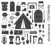 camping outline icons... | Shutterstock . vector #733708486