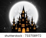 haunted house and full moon... | Shutterstock .eps vector #733708972