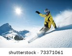 young snowboarder in deep... | Shutterstock . vector #73371061