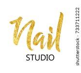 fashion nails logo  symbol.... | Shutterstock .eps vector #733711222