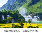 """Small photo of Royalty high quality free stock image aerial view of """" Ban Gioc """" waterfall, Cao Bang, Vietnam. """" Ban Gioc """" waterfall is one of the top 10 waterfalls in the world. Aerial view"""