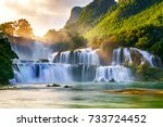 ban gioc waterfall in cao bang  ...   Shutterstock . vector #733724452