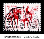 Small photo of MOSCOW, RUSSIA - OCTOBER 3, 2017: A stamp printed in Denmark shows Tilting at a Barrel (Shrovetide custom), Europa (C.E.P.T.) 1981 serie, circa 1981