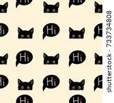 Black Cat Sneaking On Beige...