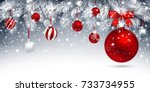 christmas card with red balls... | Shutterstock .eps vector #733734955