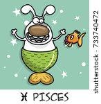 horoscope zodiac sign dog pisces | Shutterstock .eps vector #733740472