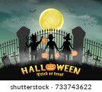halloween kids in front of...   Shutterstock .eps vector #733743622
