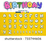 birthday font and alphabet from ... | Shutterstock .eps vector #733744606